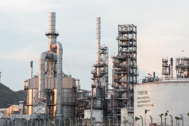 Industrial at oil refinery plant. Factory petrochemical royalty free stock photography