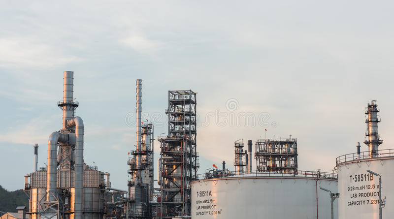 Industrial at oil refinery plant. Factory petrochemical royalty free stock images