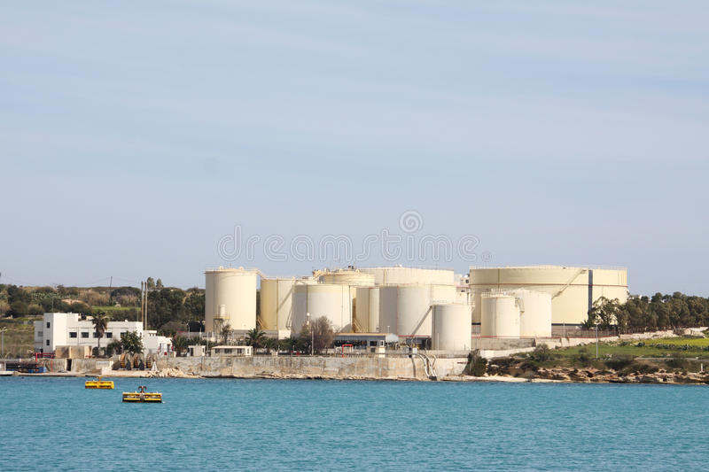 Industrial oil tanks stock photography