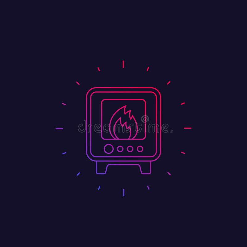 Industrial oven icon, linear vector illustration