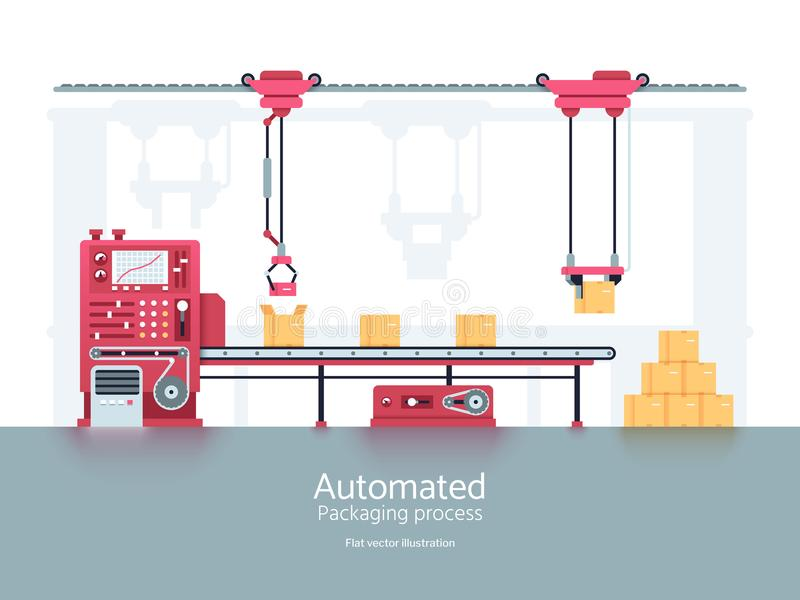 Industrial packaging machine with conveyor production line vector illustration. Conveyor machine for factory and industry manufacturing vector illustration
