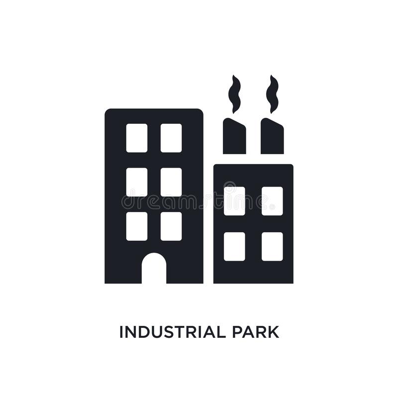 industrial park isolated icon. simple element illustration from real estate concept icons. industrial park editable logo sign stock illustration