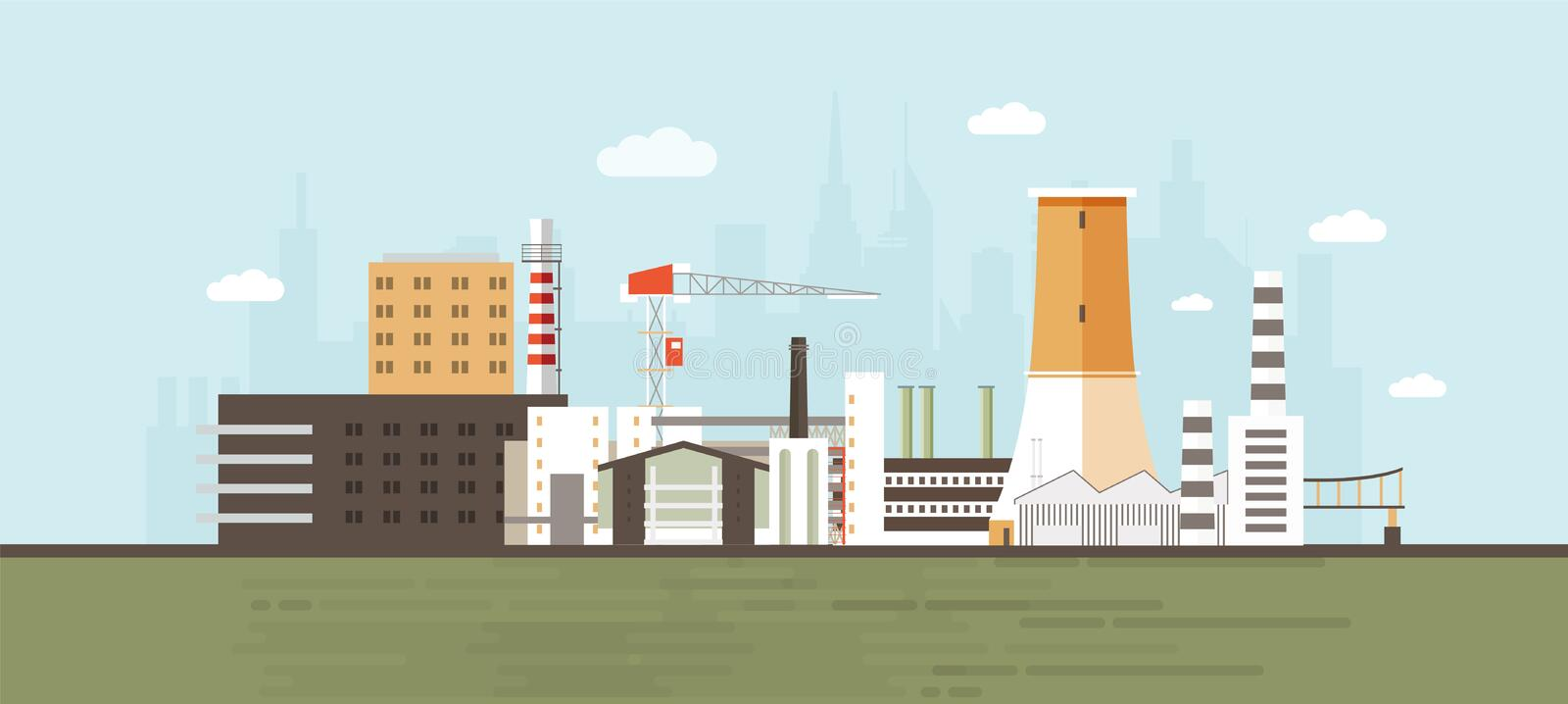 Industrial park, site, zone or area with manufacturing buildings and facilities, power plants and factories, crane. Cooling tower against city skyline in stock illustration