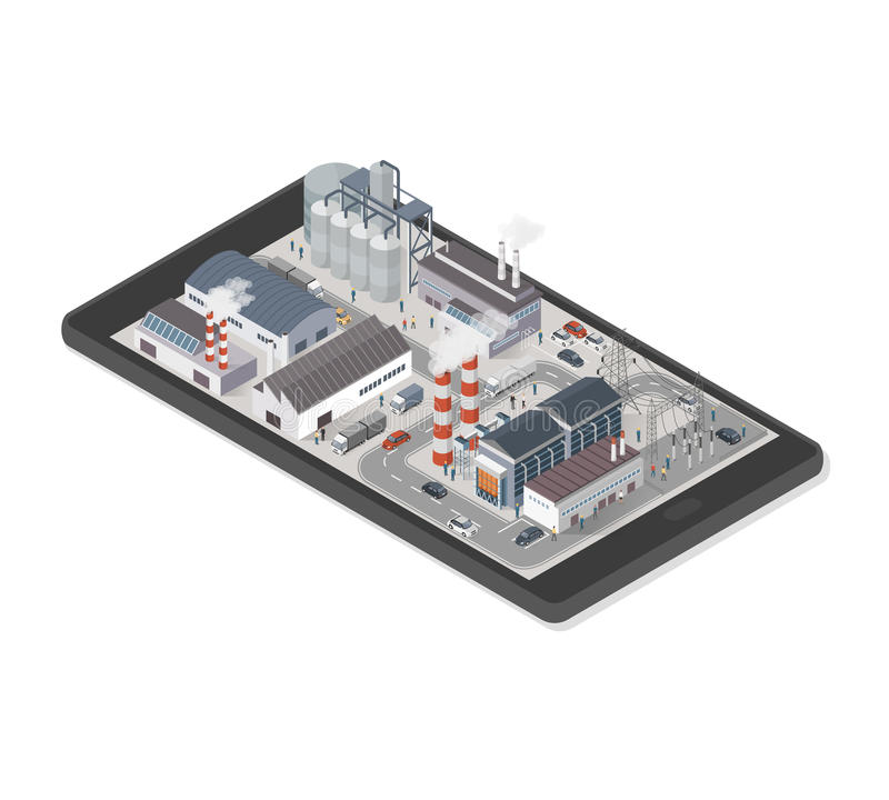 Industrial park on a smartphone stock illustration