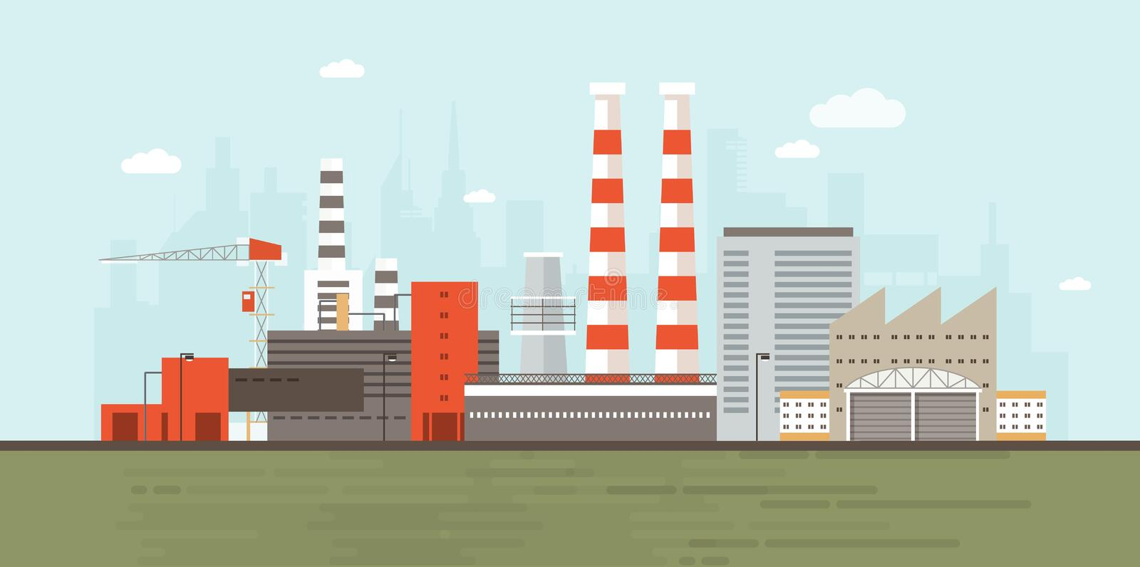 Industrial park or zone with factory buildings, manufacturing structures, power plants, warehouses, cooling towers royalty free illustration