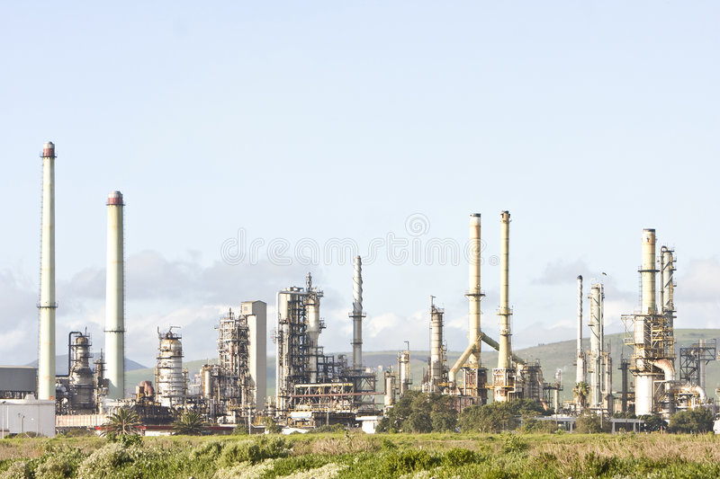 Industrial petroleum refinery at dusk. Landscape exterior royalty free stock image