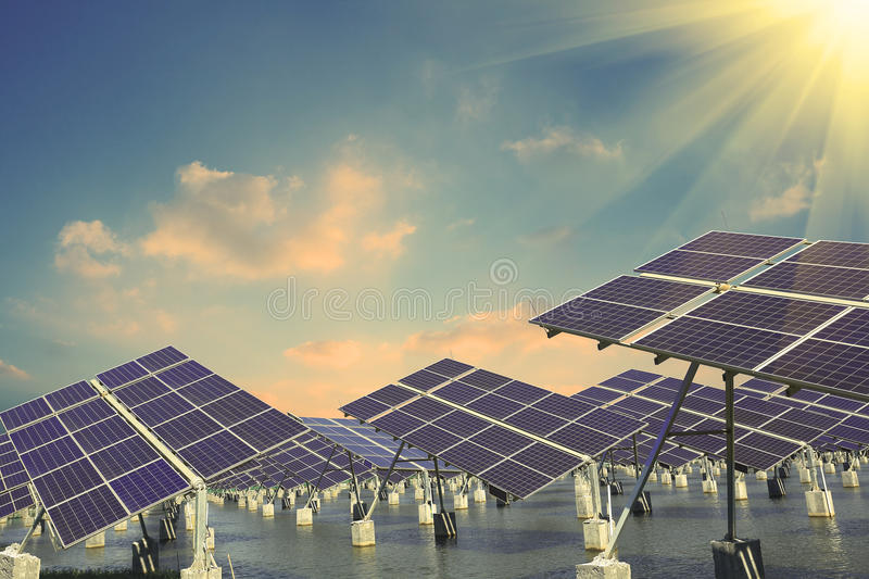 Industrial photovoltaic installation. Power plant using renewable solar energy with royalty free stock photo