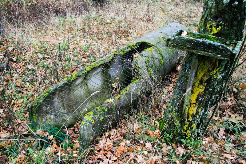 Old decayed concrete pipe royalty free stock images