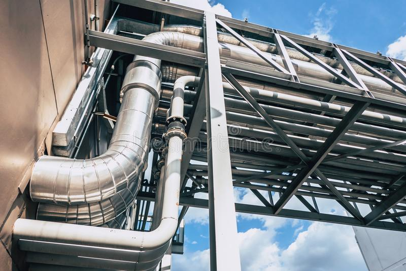 Industrial Pipe. Group of Factory Heat Pipe Water Chilling Air Ventilation royalty free stock photo