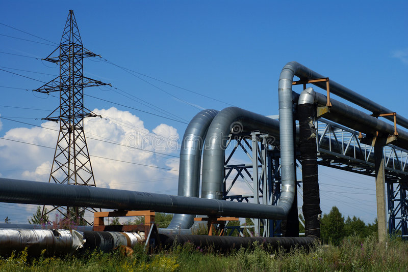 Download Industrial Pipelines Against Blue Sky Stock Photo - Image of burn, convert: 7979260