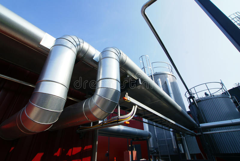 Industrial pipelines insulation sky stock image