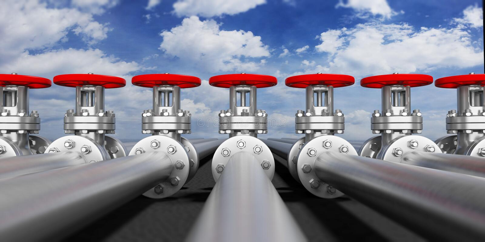 Industrial pipelines and valves on blue sky background, banner. 3d illustration vector illustration