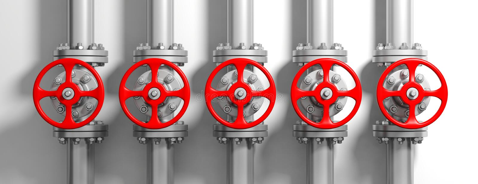 Industrial pipelines and valves on white wall background, banner. 3d illustration stock illustration