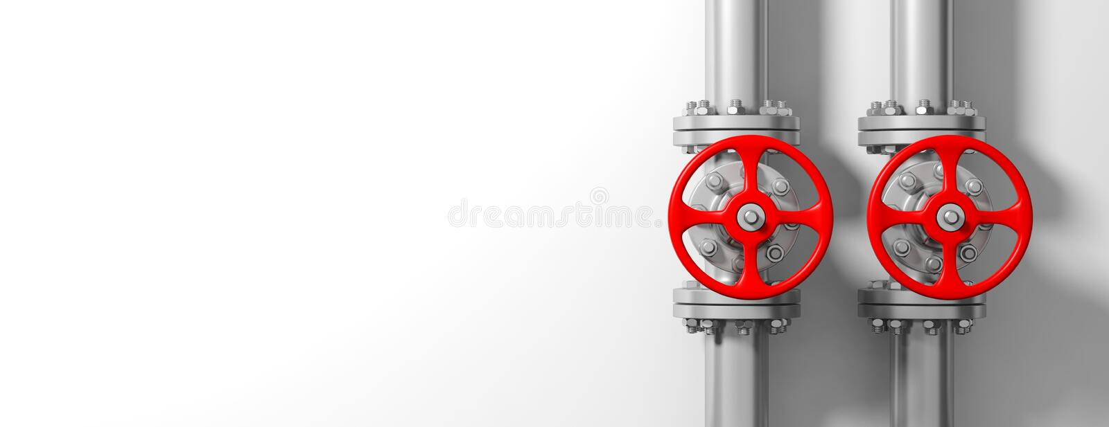 Industrial pipelines and valves on white wall background, banner, copy space. 3d illustration royalty free illustration