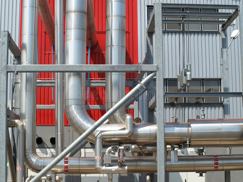 Industrial pipes. On the outside of a power plant factory stock photo