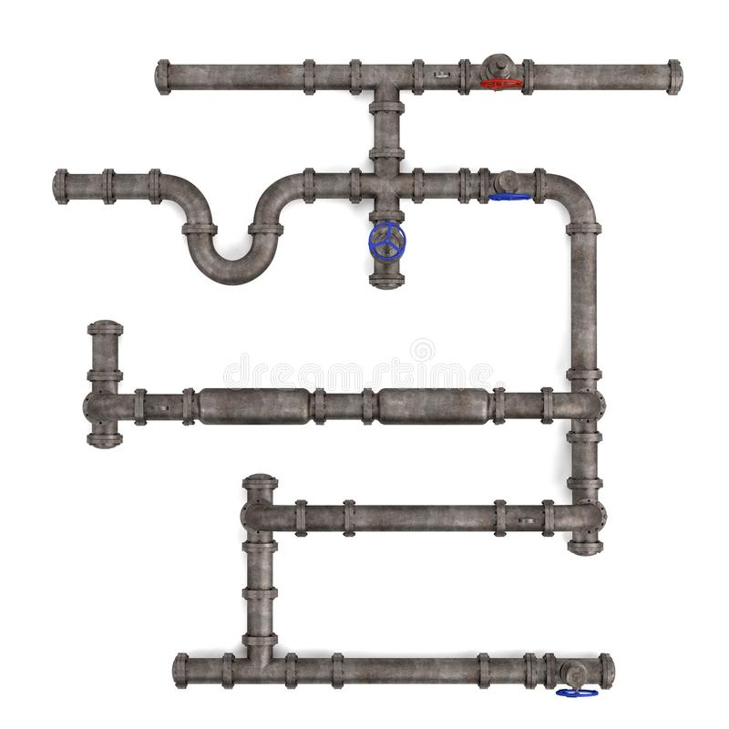 Industrial pipes. 3d render of industrial pipes royalty free illustration