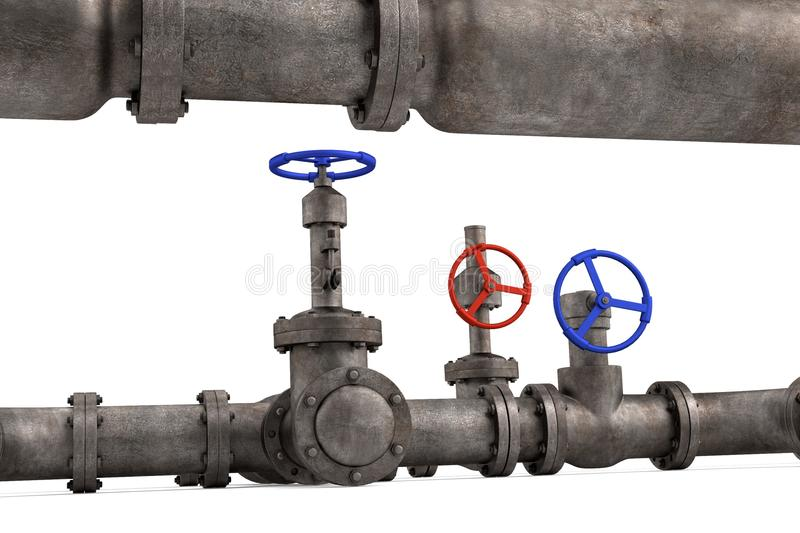 Industrial pipes. 3d render of industrial pipes vector illustration