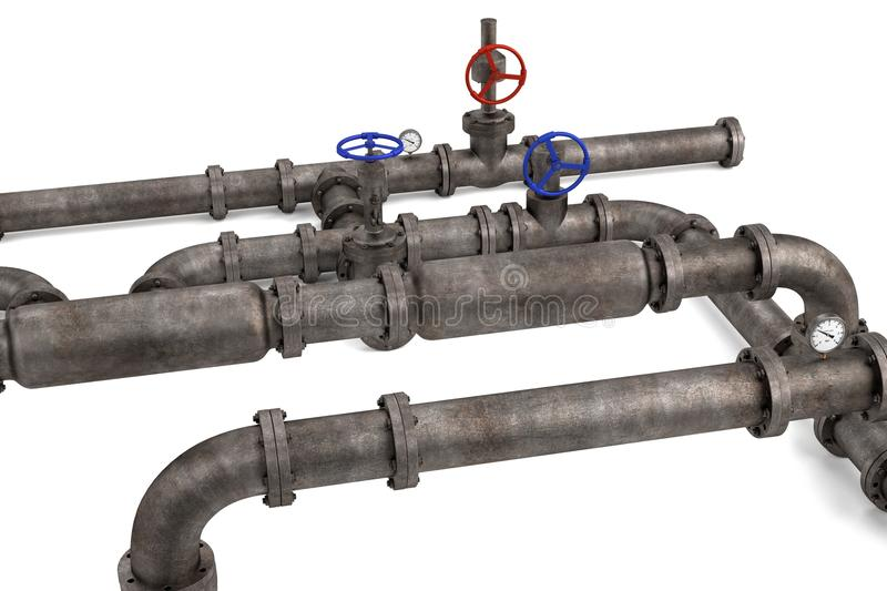 Industrial pipes. 3d render of industrial pipes stock illustration