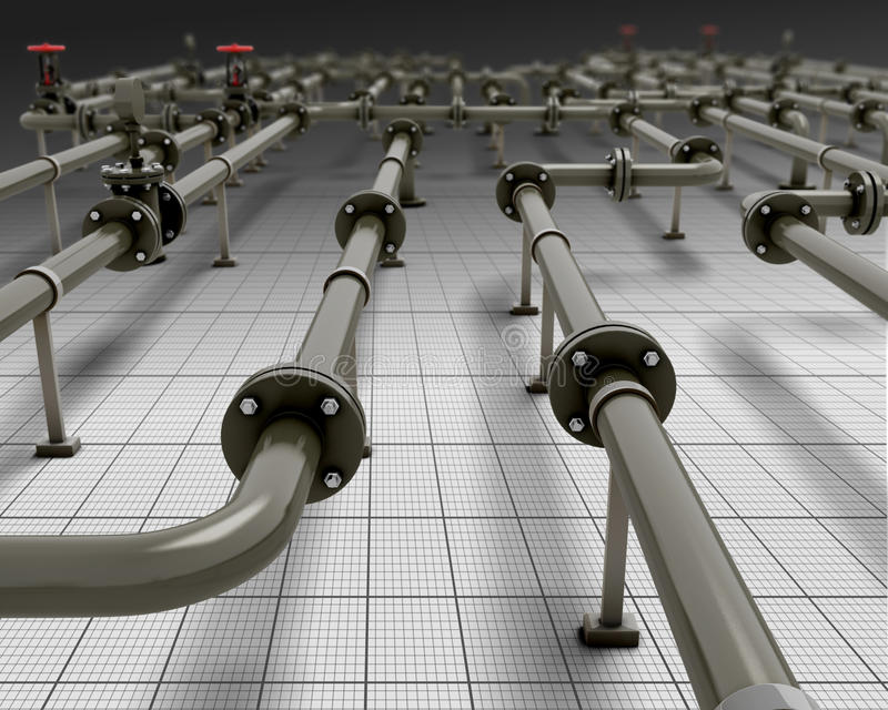 Industrial piping. Close-up. 3d render image. Pipes in the future vector illustration