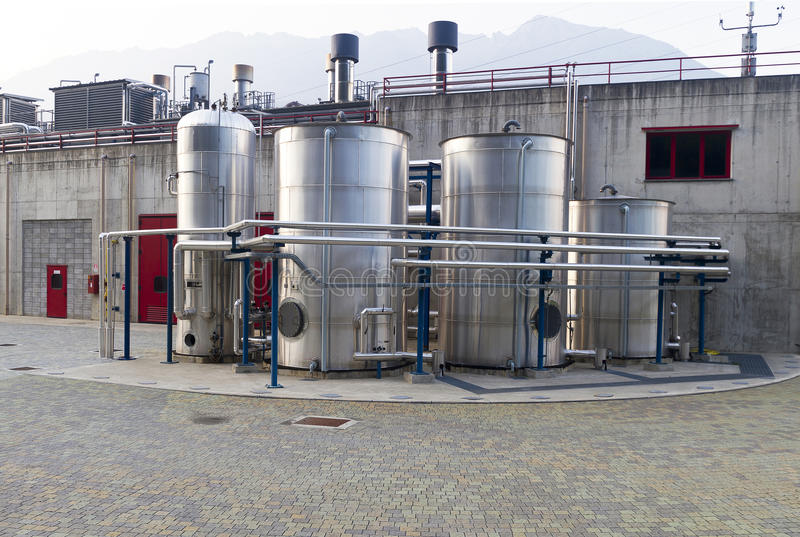 Industrial Plant. With tanks and pipes royalty free stock photography