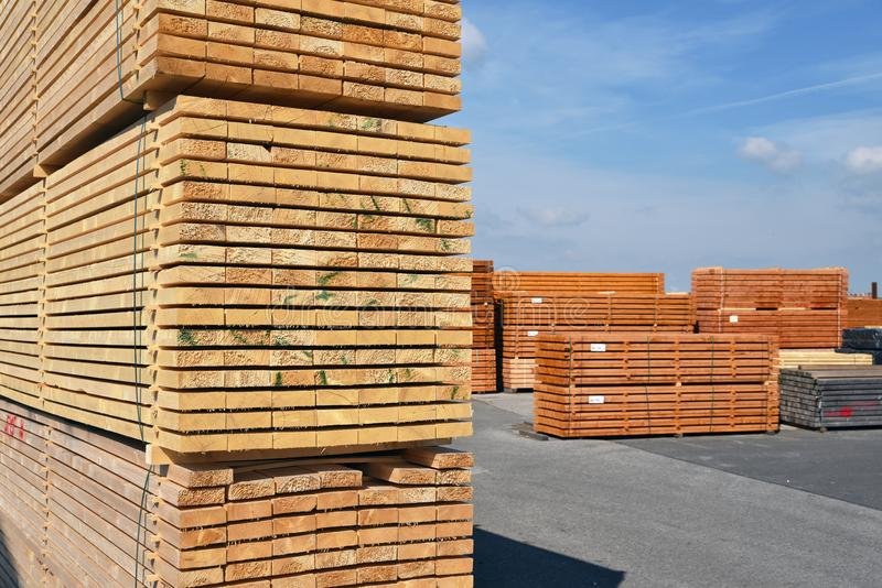 Industrial plant sawmill - storage of wooden boards royalty free stock image
