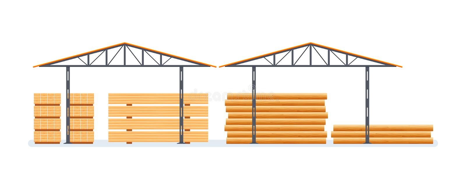 Industrial plant, wood processing, production. Building, factory with wood. royalty free illustration