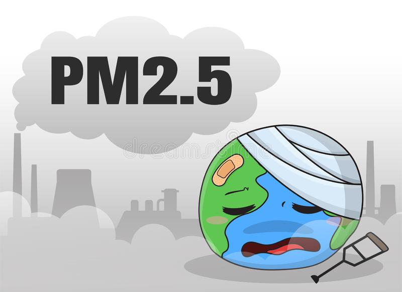 Industrial plants that emit dust and toxic fumes PM 2.5 hurt the world vector illustration