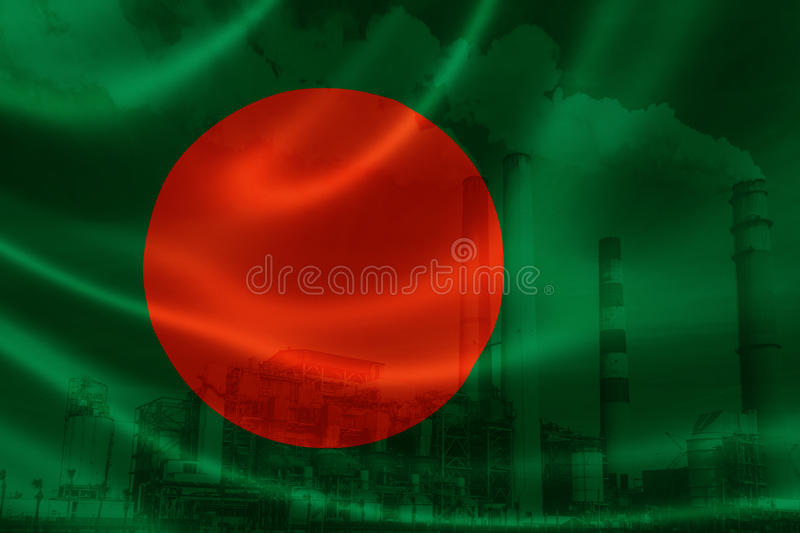 Industrial Pollution in Bangladesh. 3D rendering of Bangladesh`s flag on silky satin and double exposure of factory smoke stacks in the background, signifying royalty free stock images