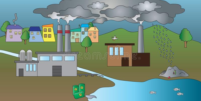 Industrial pollution of waters stock illustration
