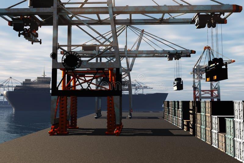 Industrial Port 3D render 1 royalty free illustration