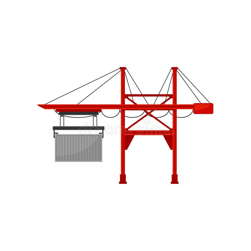 Industrial port and cargo harbor crane vector Illustration on a white background stock illustration