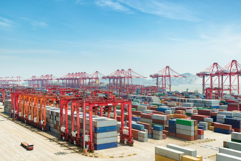 Industrial port with containers, Shanghai Yangshan deepwater port is a deep water port for container ships in Shanghai, China. royalty free stock image