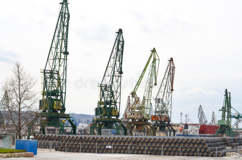 Industrial port. Loading cranes in an industrial port in Varna,Bulgaria stock photography