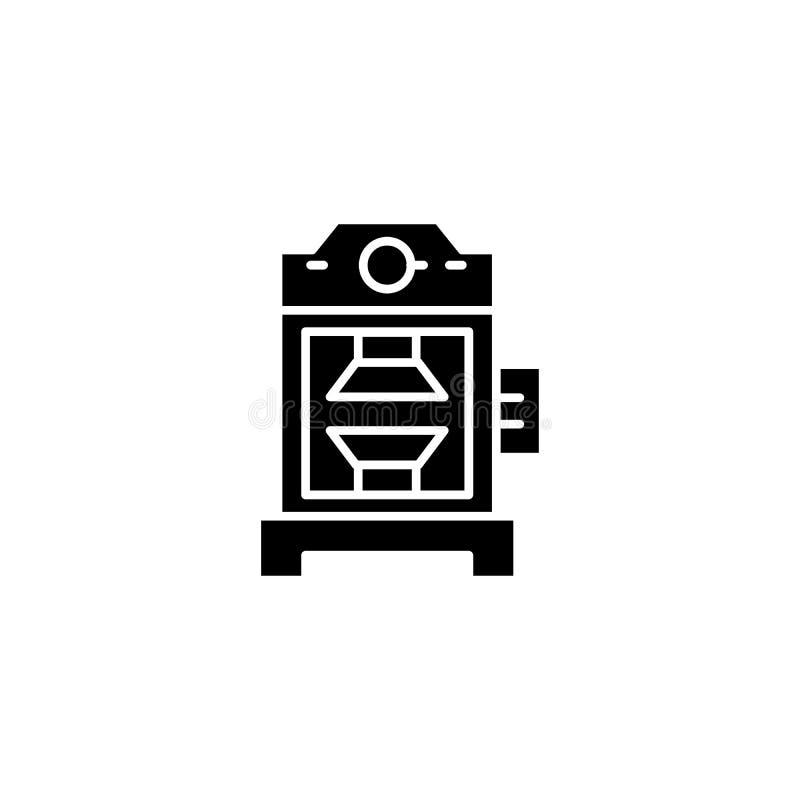 Industrial press black icon concept. Industrial press flat vector symbol, sign, illustration. stock illustration