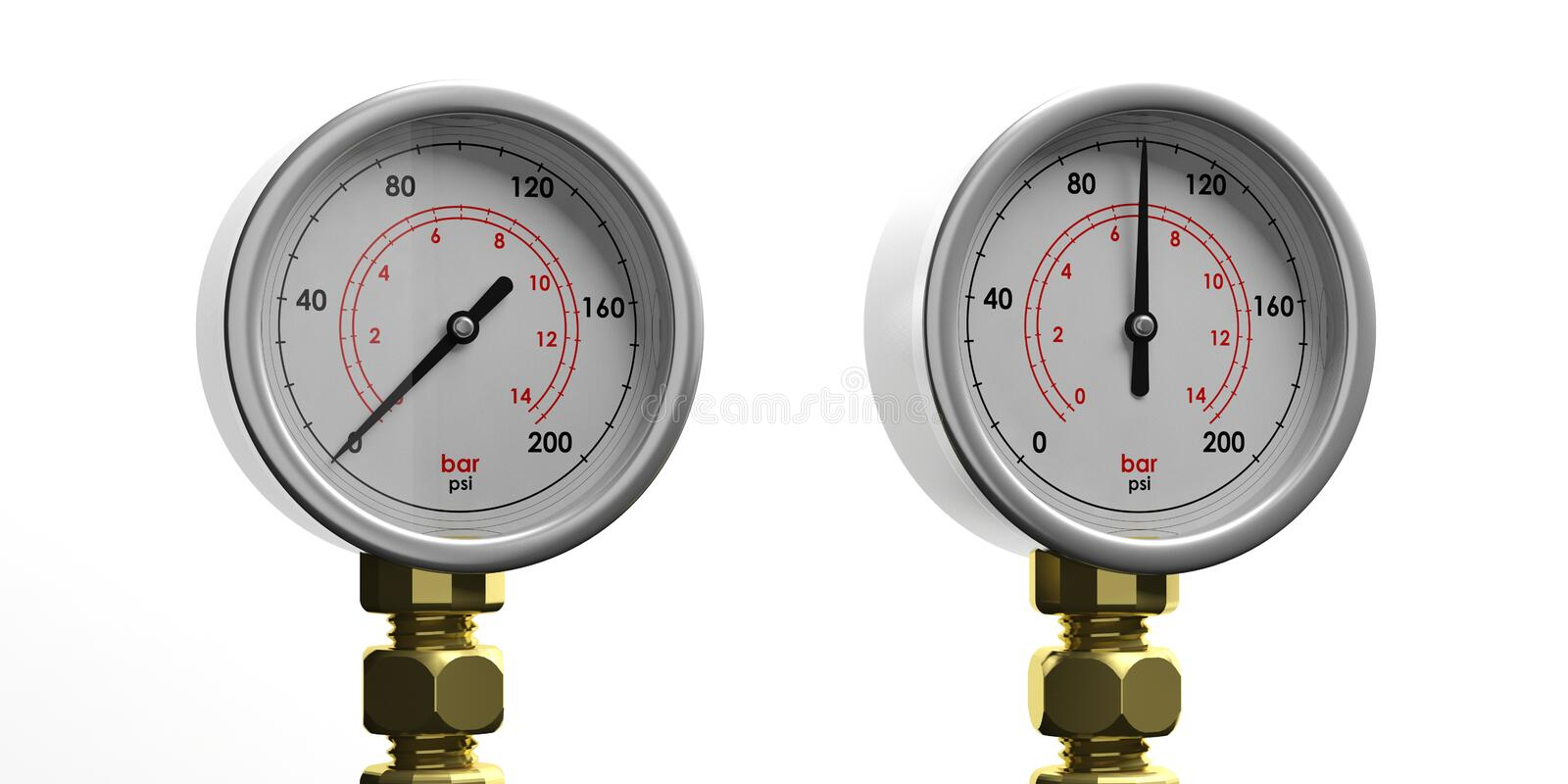 Industrial pressure gauges isolated on white background, front view. 3d illustration stock illustration