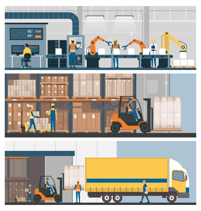 Industrial production, warehousing and logistics vector illustration