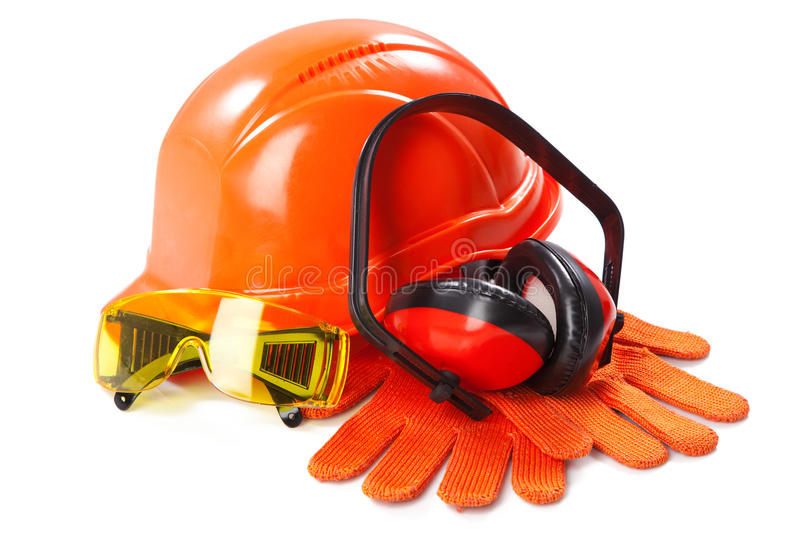 Industrial protective wear. On white background stock photos
