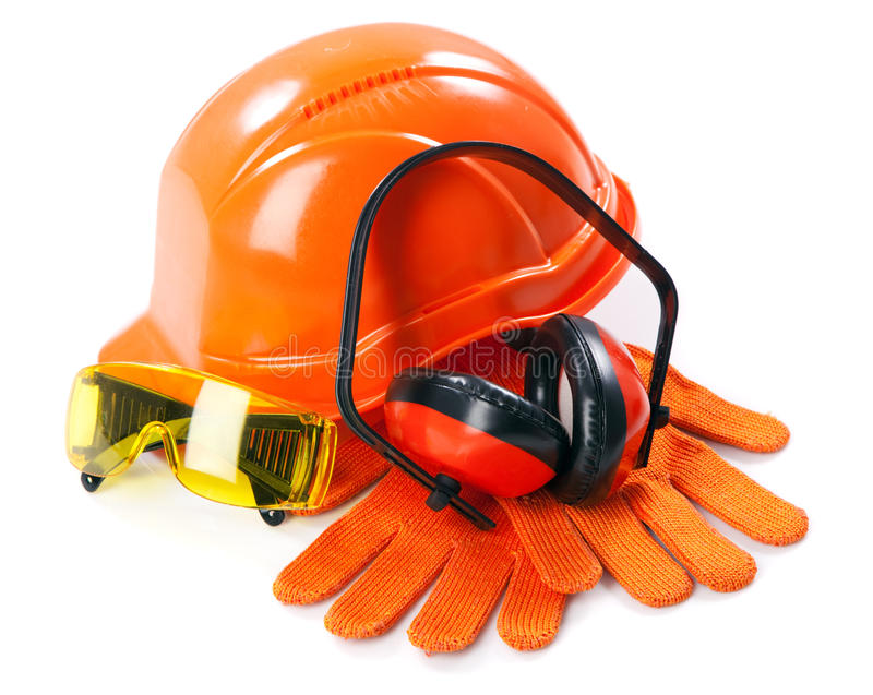 Industrial protective wear. On white background stock photography