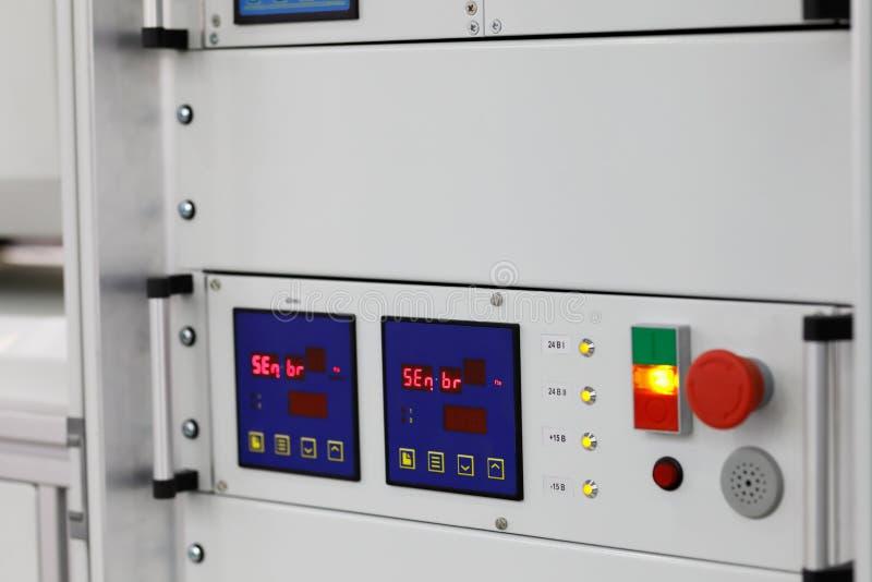 Industrial rack mount equipment close up stock image