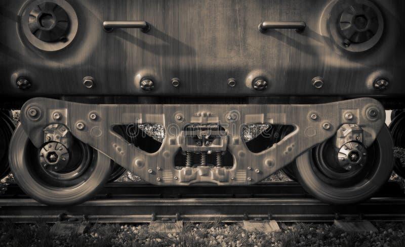 Industrial rail train wheels closeup technology. Black and white photo stock image