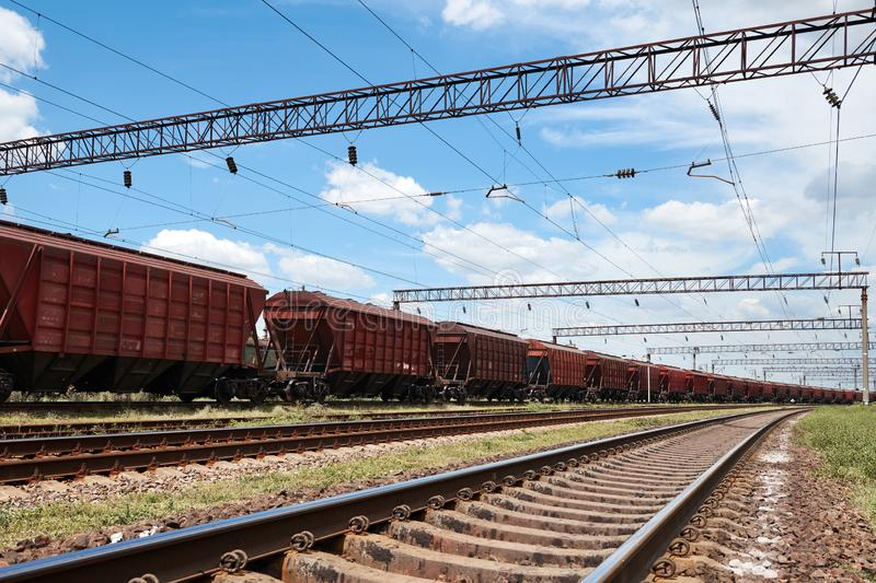 Industrial railway - wagons, rails and infrastructure, electric power supply, Cargo transportation and shipping concept stock photography