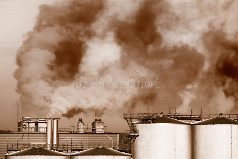 Industrial Revolution. And air pollution royalty free stock photo