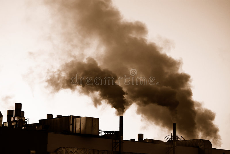 Industrial Revolution. Air pollution by industrial smoke stock photography