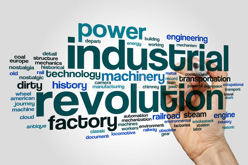 Industrial revolution word cloud. Concept on grey background royalty free stock image