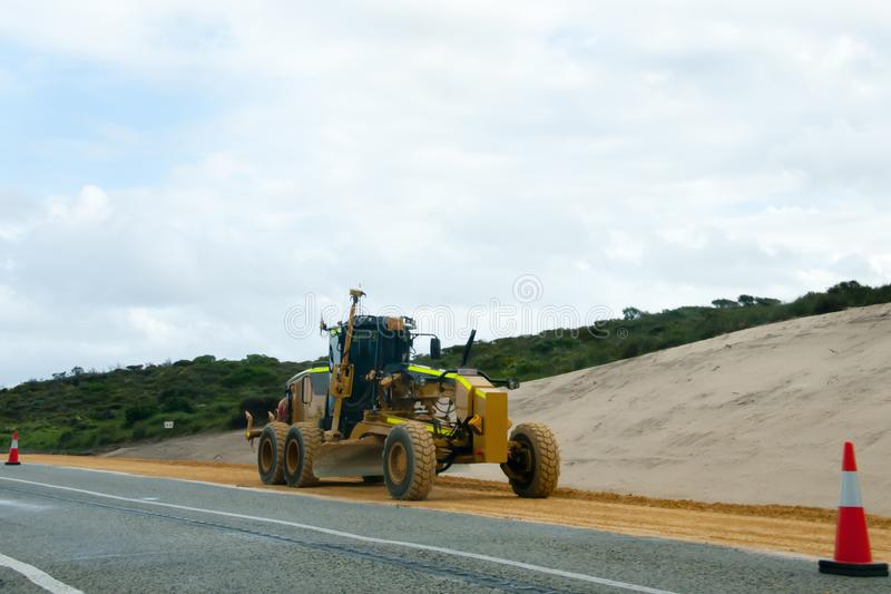 Industrial Road Grader royalty free stock photography
