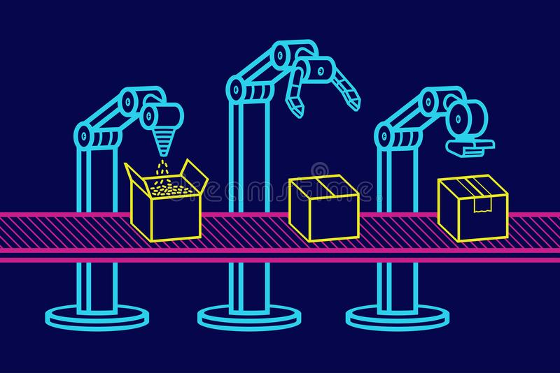 Industrial robot arm stock illustration