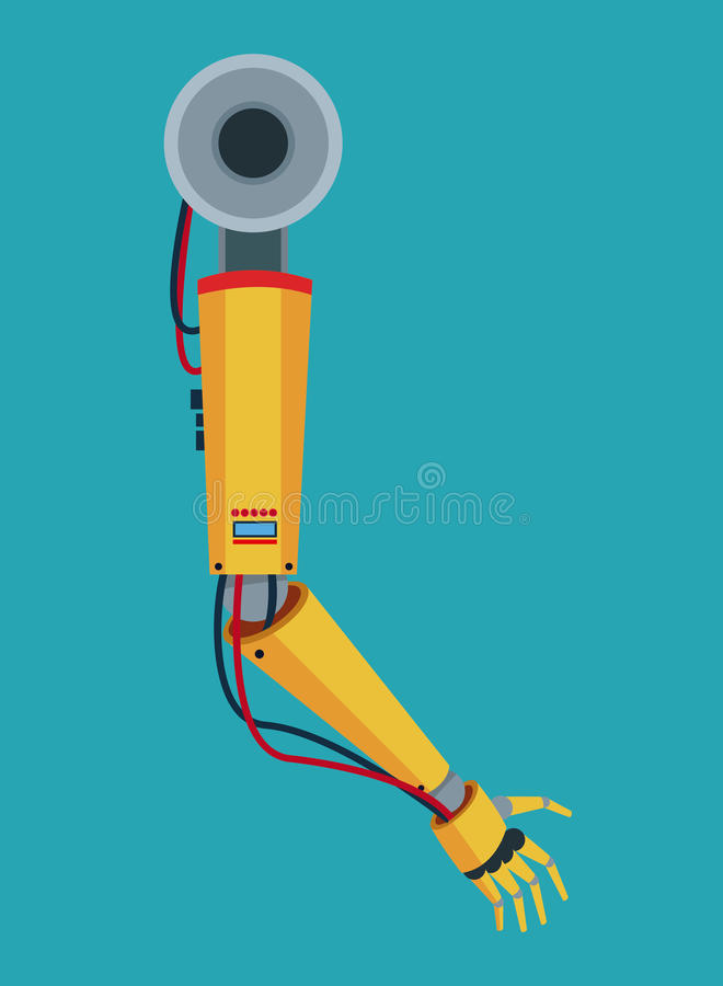 Industrial robot arm industry factory vector illustration