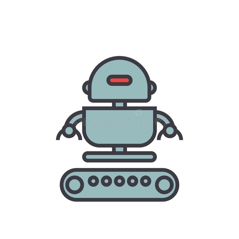 Industrial robot army flat line illustration, concept vector isolated icon stock illustration