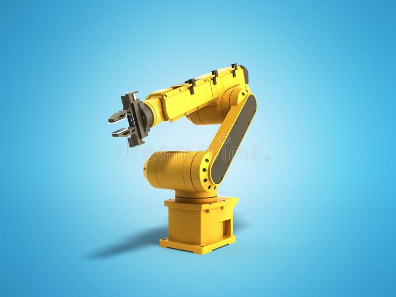 Industrial robot on blue background 3D rendering royalty free illustration
