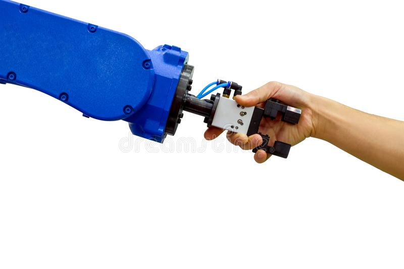 Industrial robot handshake with human on relationship for work on industrial. Industrial robot handshake with human on relationship for working on industrial royalty free stock images
